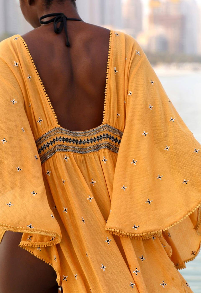 EASY BREEZY - EMBROIDERED LONG KAFTAN DRESS Kimonos & Cover-ups 105 S/M Spicy Yellow Solid Color