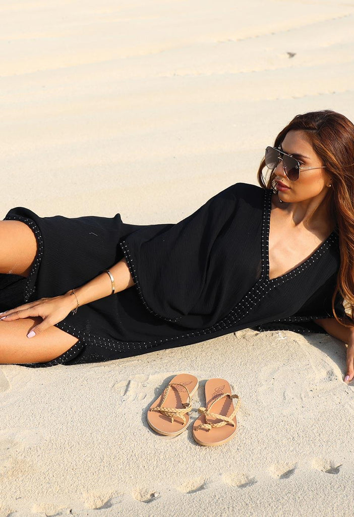 READY FOR THE BEACH - OVERSIZED EMBROIDERED KAFTAN Kimono & Cover-up 106 XS/S Onyx Black Solid Color
