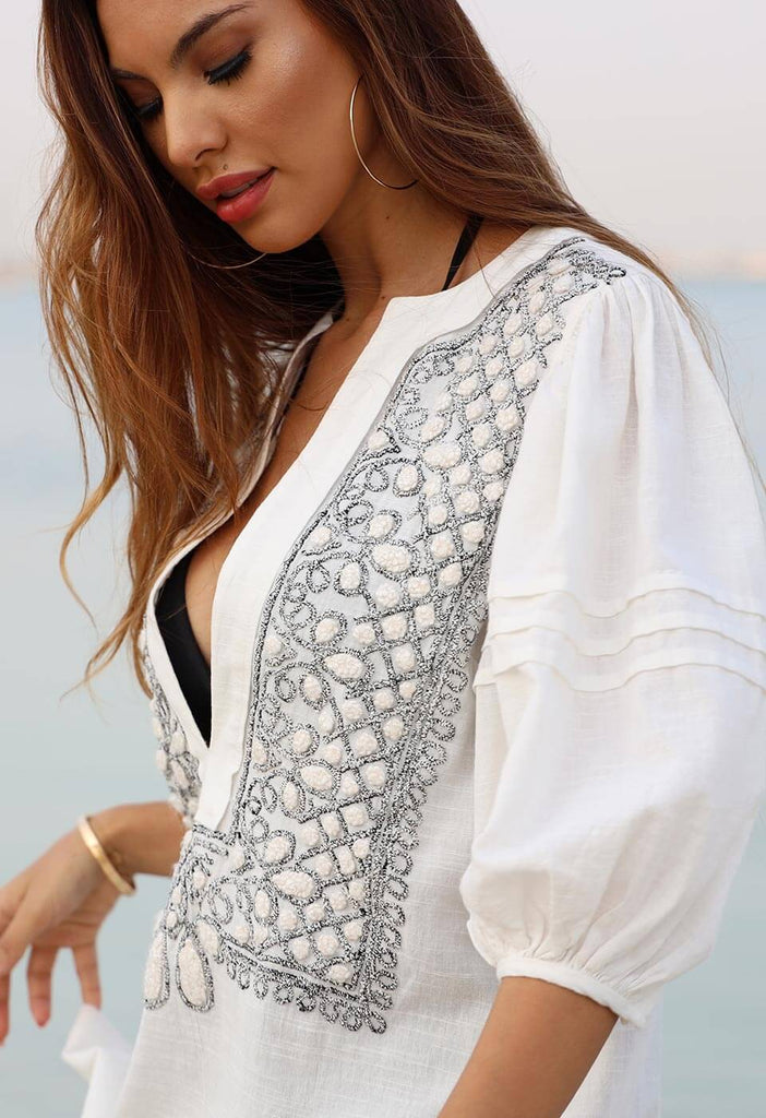 UDAIPUR - EMBROIDERED LONG KAFTAN DRESS Dresses 106 XS Simply White Solid Color