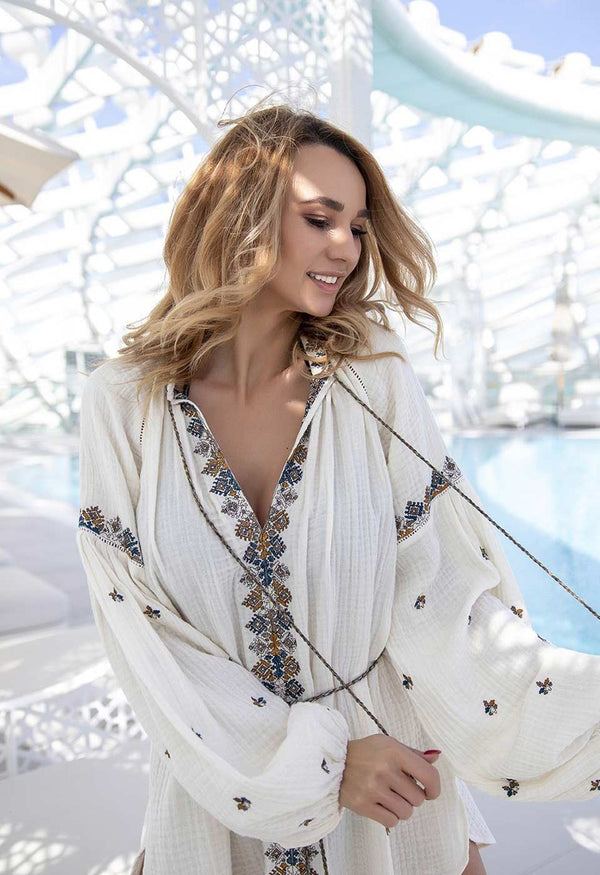 ZAKINTHOS Kimonos & Cover-ups Scarlett Poppies S/M Simply White Solid Color