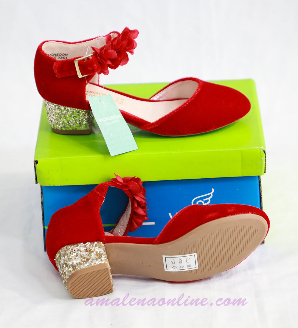 MONSOON SHOES RED WITH GLITTER HEELS
