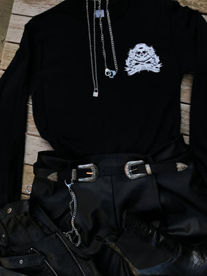 Skull and Roses Long Sleeved Tee Shirt- Black