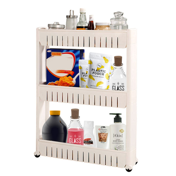 Pantry Storage Rack Multi-Purpose 3 Tier Slide Out Storage Tower