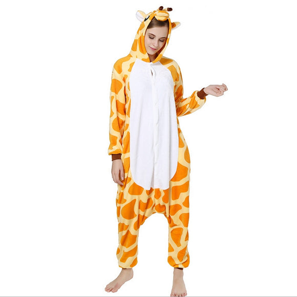 Unisex Birthday onesie Custume Cosplay Adult Kigurumi Pajamas Sleepwear(GIRAFFE)