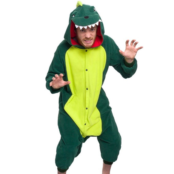 Unisex Birthday onesie Custume Cosplay Adult Kigurumi Pajamas Sleepwear(DINOSAUR)