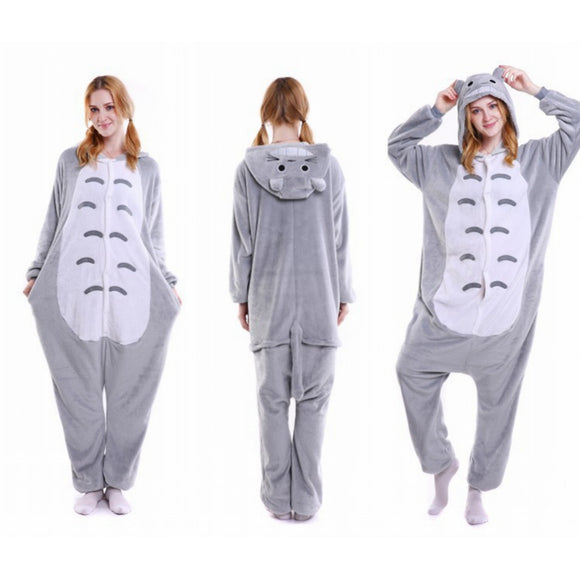 Unisex Birthday onesie Custume Cosplay Adult Kigurumi Pajamas Sleepwear(Totoro)