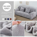Thick Sofa Covers 1/2/3 Seater Pure Color Sofa Protector Velvet Easy Fit Elastic Fabric Stretch Couch Slipcover