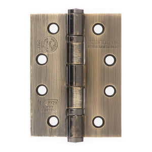 "Atlantic Ball Bearing Hinges Grade 13 Fire Rated 4"" x 3"" x 3mm - Antique Brass - AH1433AB - Pair - Choice Handles"