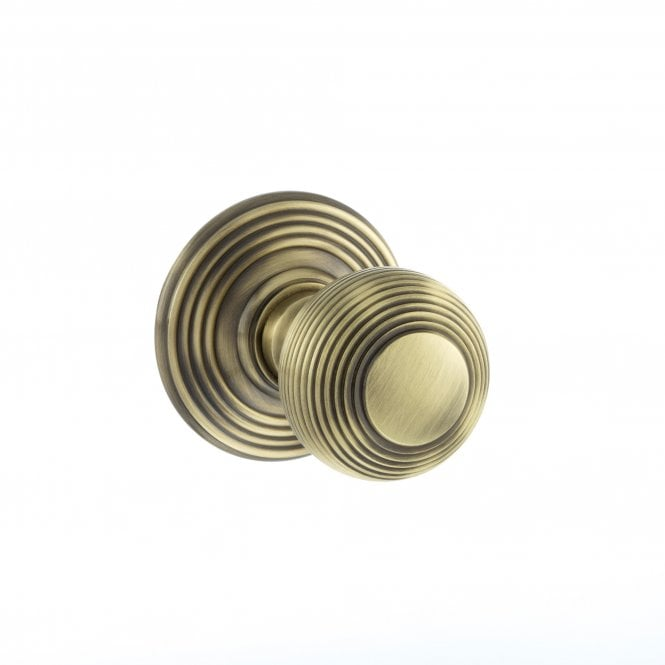 Atlantic Old English Ripon Solid Brass Reeded Mortice Knob on Concealed Fix Rose - Antique Brass - OE50RMKAB