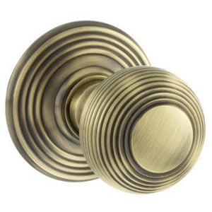 Atlantic Old English Ripon Solid Brass Reeded Mortice Knob on Concealed Fix Rose - Antique Brass - OE50RMKAB - Choice Handles