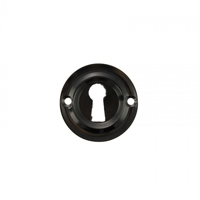 Atlantic Old English Solid Brass Open Key Hole Escutcheon - Black Nickel - OERKEBN