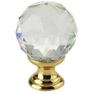 Swarovski 20mm Crystal Cabinet Knob - Polished Brass - 2000-20PB - Choice Handles