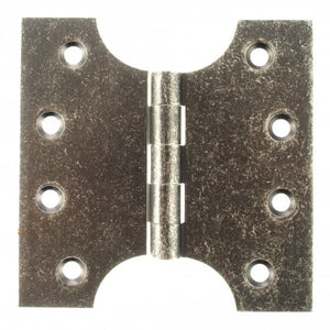 "Atlantic (Solid Brass) Parliament Hinges 4"" x 2"" x 4"" - Distressed Silver - APH424DS - Pair - Choice Handles"