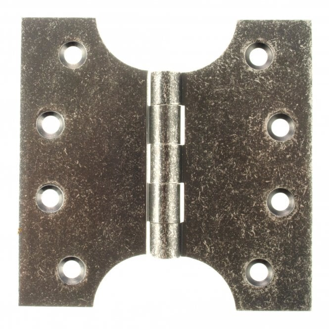 "Atlantic (Solid Brass) Parliament Hinges 4"" x 2"" x 4"" - Distressed Silver - APH424DS - Pair"