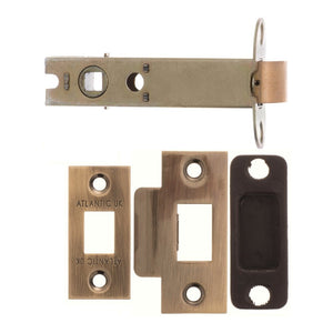 "Atlantic Heavy Duty Bolt Through Tubular Latch 4"" 102mm - Antique Brass - AL4AB - Choice Handles"