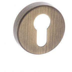 Atlantic Forme Euro Escutcheon on Minimal Round Rose - Yester Bronze - FMREYB - Choice Handles