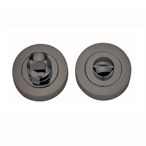 Darcel - Bathroom Round Thumb Turn and Release, Black Nickel - FWCTT-BN