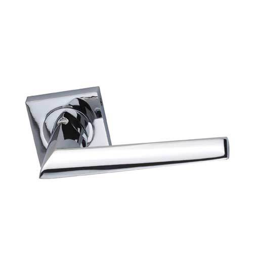 Darcel - Eugene Door Lever Handle On Square Rose, Polished Chrome- DCEUG-CP