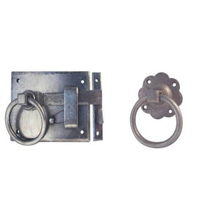 Frelan 150 x 120mm Handforged Cottage Ring Handle Gate Latch, Left Hand - Pewter - HF48LH - Choice Handles