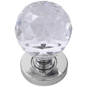 Frelan - Faceted Glass Mortice Door Knob - Polished Chrome - JH5255PC - Choice Handles