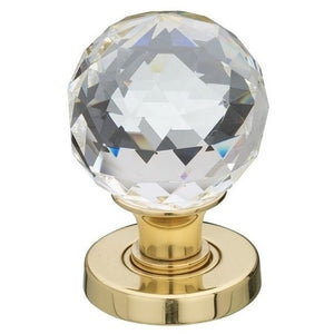 Frelan - Faceted Glass Mortice Door Knob - Polished Brass - JH5255PB - Choice Handles