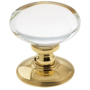 Frelan - Oval Glass Mortice Door Knob - Polished Brass - JH6000PB - Choice Handles