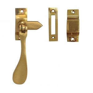 Frelan - Reversible Casement hook and Mortice Window Fastener - Polished Brass - JV45RPB - Choice Handles