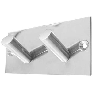 Frelan - Double Robe Hook On Backplate - Polished Stainless Steel - JPS901C - Choice Handles