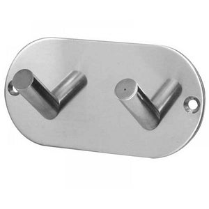 Frelan - Double Robe Hook On Rounded Backplate - Polished Stainless Steel - JPS902C - Choice Handles