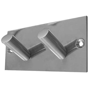 Frelan - Double Robe Hook On Backplate - Satin Stainless Steel - JSS901C - Choice Handles