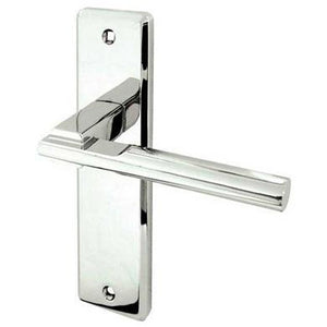 Frelan - Delta Door Handles On Backplate - Latch - Polished Chrome - JV3013PC - Choice Handles