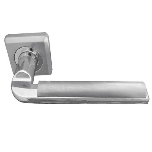 Frelan Hardware - Athena Door Handles On Square Rose  - Satin Chrome/Polished Chrome - JV3002PCSC