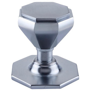 Frelan - Octagonal Centre Door Knob (70mm Diameter) - Satin Chrome - JV33SC - Choice Handles
