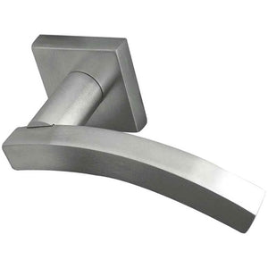 Frelan - Paja Kubus Curved Door Handles On Square Rose - Satin Chrome - JV4002SC - Choice Handles