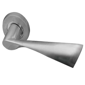 Frelan  - Comet Door Handles On Round Rose  - Satin Nickel - JV845SN - Choice Handles