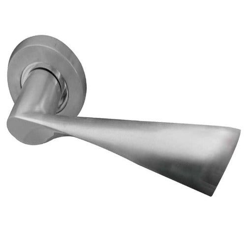 Frelan  - Comet Door Handles On Round Rose  - Satin Nickel - JV845SN