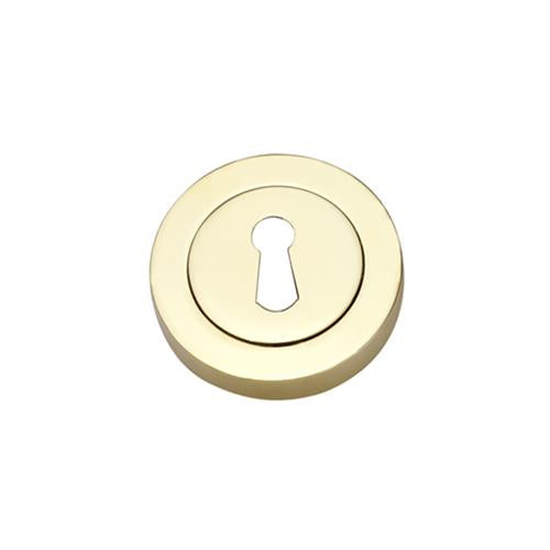 Darcel - Round Key Hole Escutcheon, Polished Brass - FESC-PB (Pair)