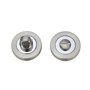 Darcel - Bathroom Round Thumb Turn and Release, Satin Nickel / Polished Chrome - FWCTT-SNCP - Choice Handles