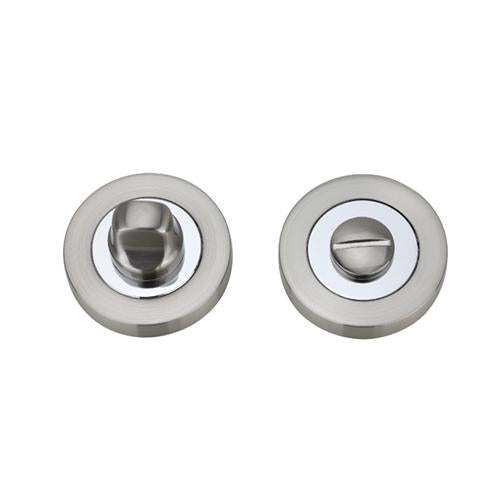 Darcel - Bathroom Round Thumb Turn and Release, Satin Nickel / Polished Chrome - FWCTT-SNCP