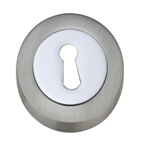 Darcel - Round Key Hole Escutcheon, Satin Nickel/Polished Nickel - FESC-SNNP (Pair)