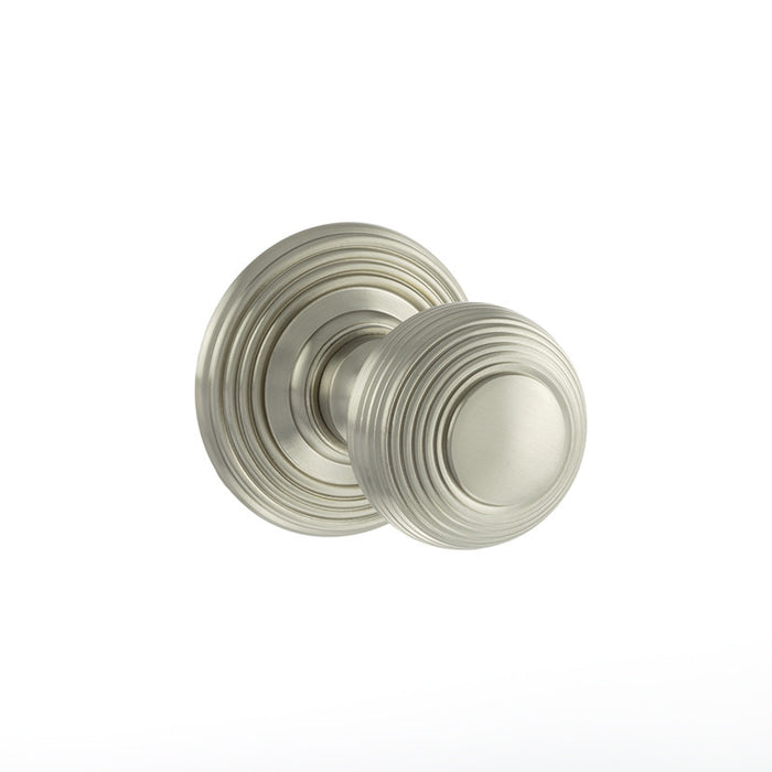 Atlantic Old English Ripon Solid Brass Reeded Mortice Knob on Concealed Fix Rose - Satin Nickel - OE50RMKSN