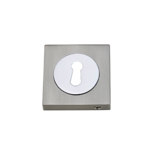 Darcel - Square Key Hole Escutcheon, Satin Nickel/Polished Chrome - FSEESC-SNCP (Pair)