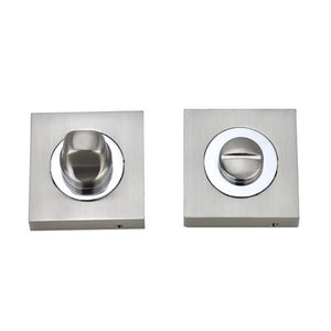 Darcel - Bathroom Square Thumb Turn and Release, Satin Nickel/Polished Chrome - FWCSTT-SNCP - Choice Handles