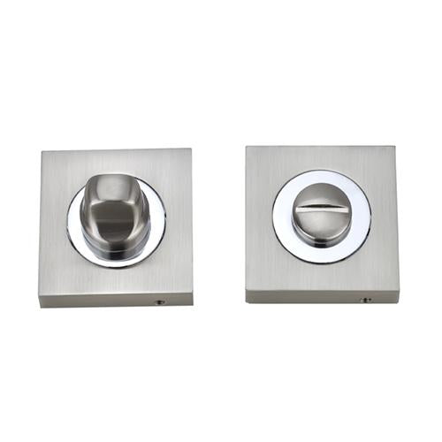 Darcel - Bathroom Square Thumb Turn and Release, Satin Nickel/Polished Chrome - FWCSTT-SNCP