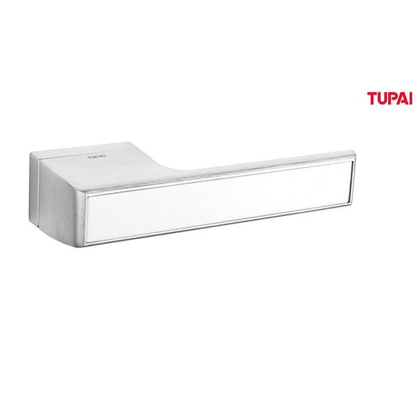 Tupai Rapido VersaLine Tobar Designer Lever on Long Rose - Satin Stainless Steel Decorative Plate - Satin Chrome - T3089LSSSSC