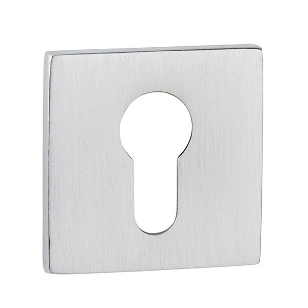 Tupai Rapido 5S Line Euro Escutcheon on 5mm Slimline Square Rose - Satin Chrome (Pair) - TESCES5SSC
