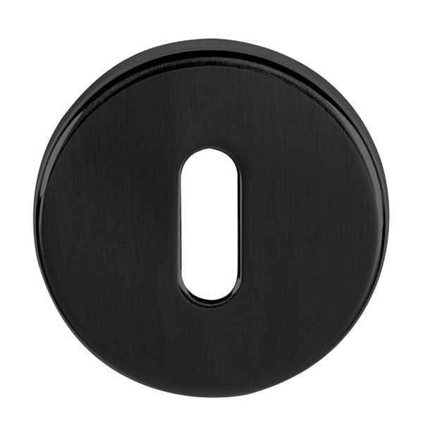 Tupai Rapido CurvaLine Key Escutcheon on Round Rose - Pearl Black (Pair) - TESCKRMB