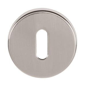 Tupai Rapido CurvaLine Key Escutcheon on Round Rose - Pearl Nickel (Pair) - TESCKRPL - Choice Handles