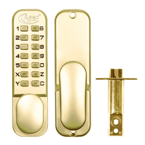 ASEC AS2304 Series Digital Lock With Optional Holdback - Polished Brass - Choice Handles