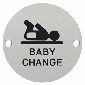 Baby Change Symbol Engraved Toilet WC Sign Dia 76mm - Polished Stainless Steel - Choice Handles